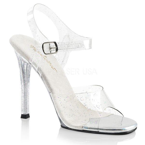 Durchsichtige mit Mini Glitter besetzte Sandalette mit High Heel Absatz Gala-08MMG